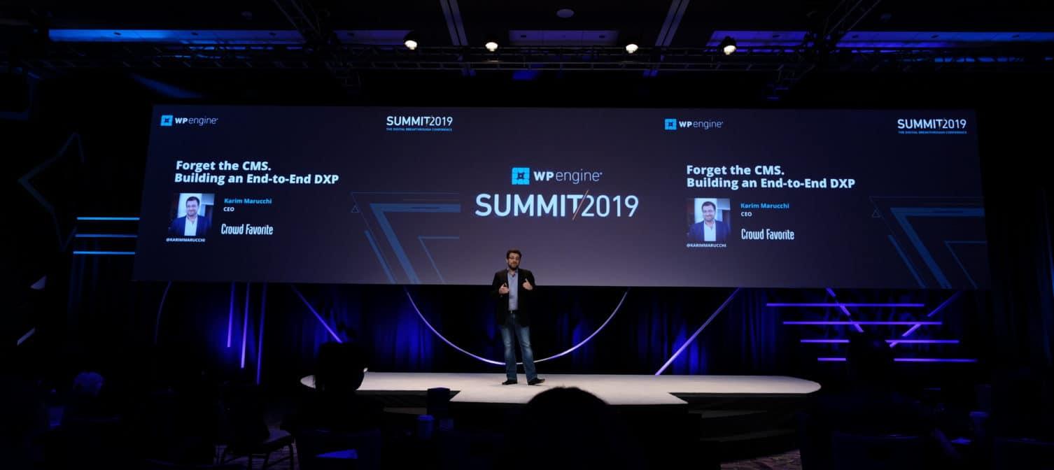 DXP - Karim Marucchi on Stage at WPEngine Summit 2019