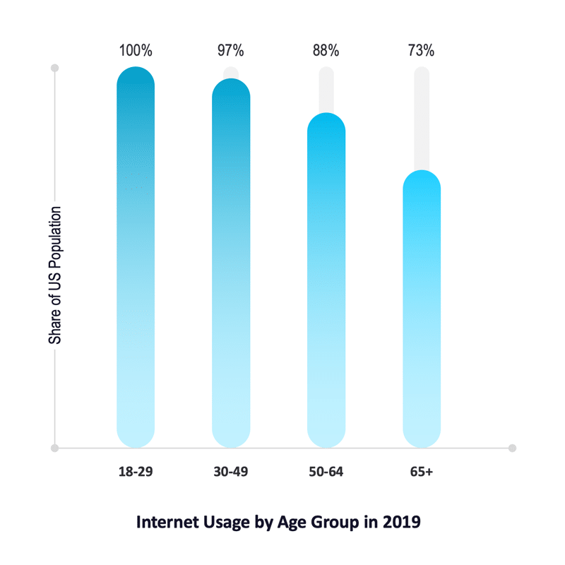 Internet Usage by Age Group, USA, 2019