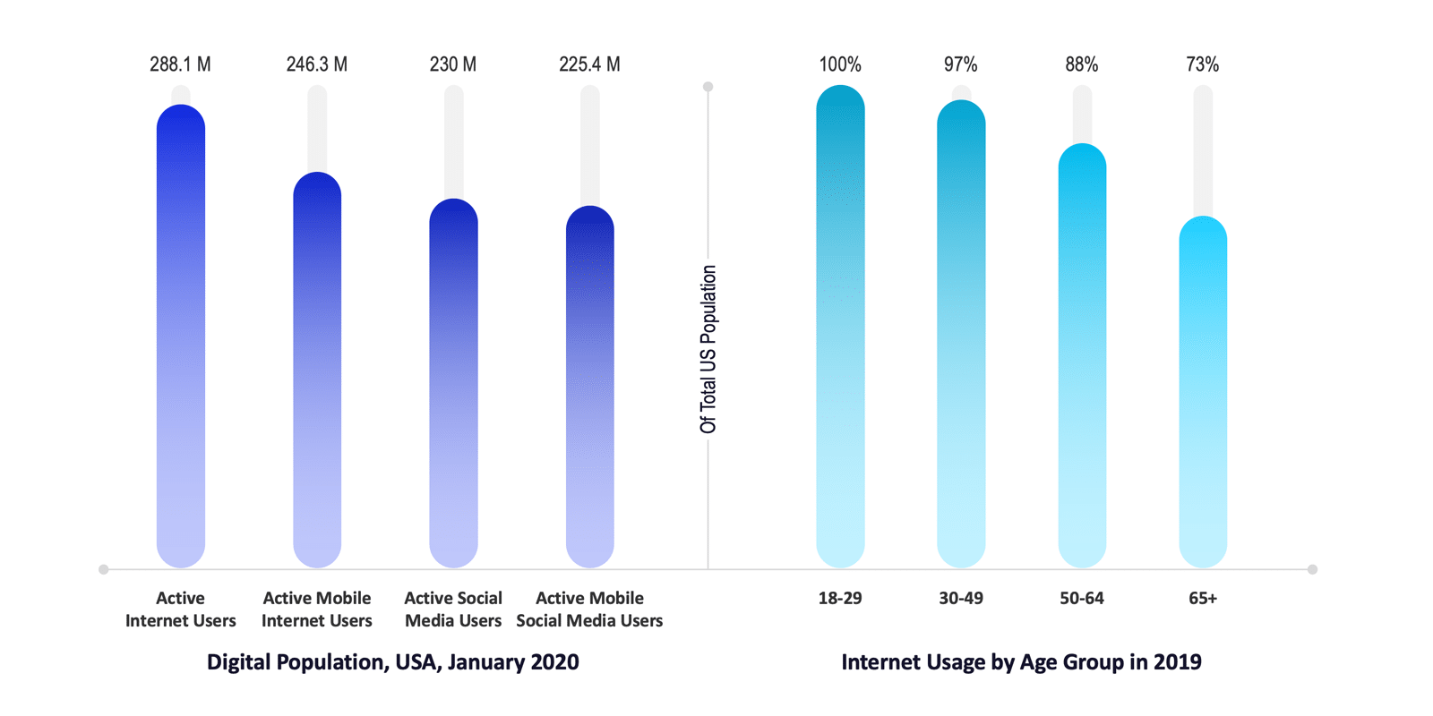 Digital Population and Internet Usage by Age Group in the USA
